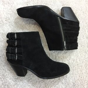 Sam Edelman Black Suede Ankle Heel Bootie
